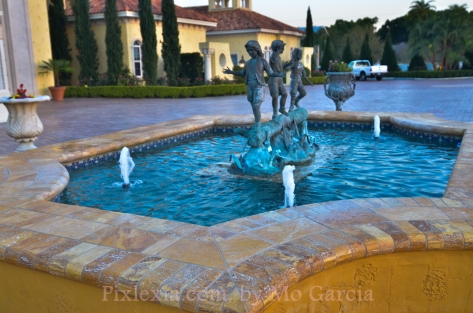 Another view of the fountain at front of house