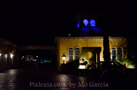 Blue lights in the bell towers