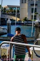 Young man preparing his boat