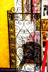 the wrought Iron cafe doors