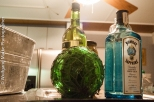 Bar bottles, pretty colored glass