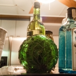 Bar bottles, pretty colored glass