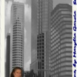 My original photography of tampa skyline. Taken with that same old canon point and shoot and myself collaged in.