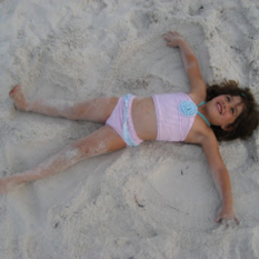 Look Nana, I'm making Sand Angels! Oh, be still my heart:-)